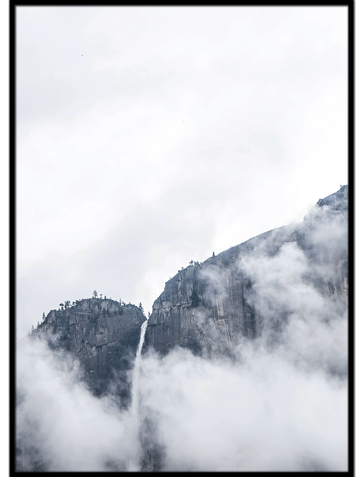Cloudy waterfall poster